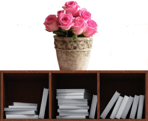 flowers bookshelf narrow